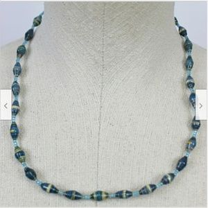 Blue Tan Striped Beaded Necklace Accessories